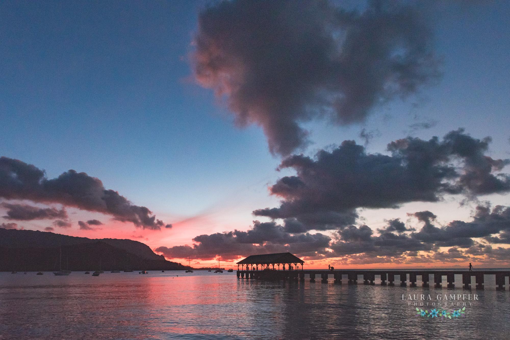 kauai hanalei pier sunset Laura Gampfer Photography